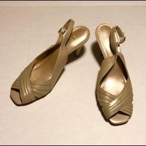 Alex Marie peep toe nude slingback heel 9 sandal
